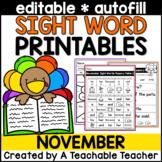 Thanksgiving Sight Words Activities EDITABLE