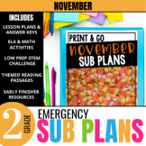 November Emergency Sub Plans for 2nd grade