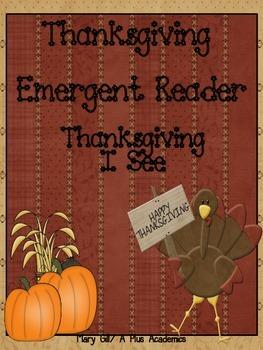 Kindergarten Thanksgiving Emergent Reader