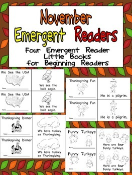 November Emergent Readers - A Book for Each Week- American