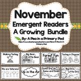 November Emergent Readers and Response Activities Growing Bundle