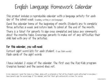 November English Language Homework Calendar