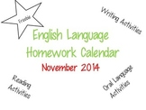 November English Language Homework Calendar