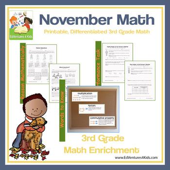 November Enrichment Math for 3rd Grade