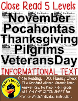 5 Level Passages: November Thanksgiving Pocahontas Veterans Day Pumpkin and more