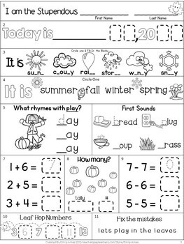 Morning Work: First Grade November Packet (Fall Differentiated Common Core)