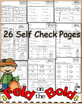 November FOLD ON THE BOLD (1st Grade) Self Checking Math and Literacy Packet