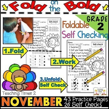 November FOLD ON THE BOLD (2nd Grade) Self Checking Math and Literacy Packet