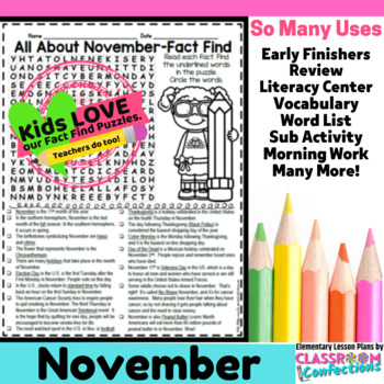 November Activity: November Word Search (non-fiction, reading facts)