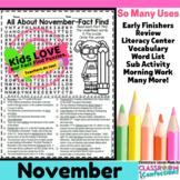 November Activity: November Word Search (non-fiction, read