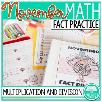 Multiplication and Division Math Facts Worksheets: November