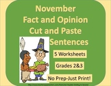 Fact or Opinion November Cut and Paste Sentence Sort-NonFiction