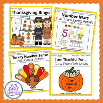 November Fall Activities Bundle for Math, Literacy, and Crafts!
