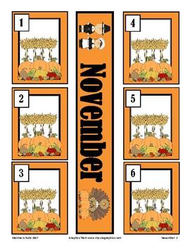 November Feast Calendar Pieces