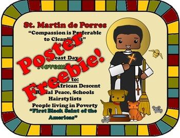 November Feast Day Catholic Saint Poster - Saint Martin de Porres