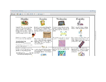 November Fifth Grade Homework Calendar Publisher Version