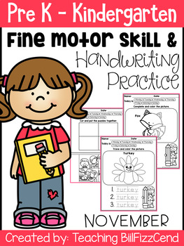 November Fine Motor Skill and Handwriting Practice