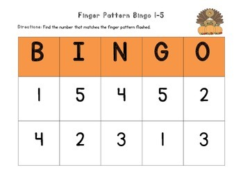 November Finger Pattern Bingo (Differentiated 1-5, 6-10, & 1-10)