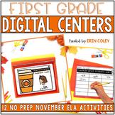 November First Grade Digital Centers l ELA BUNDLE (Distanc