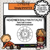 November First Grade Digital Daily Math Talks For GOOGLE SLIDES