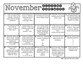 November First Grade Homework Choice Menus
