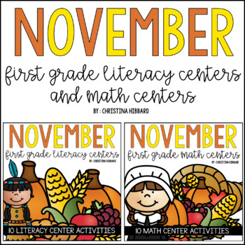November First Grade Literacy and Math Centers
