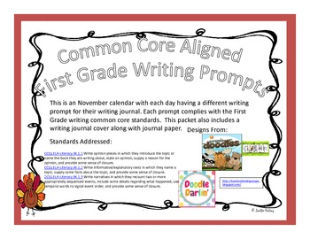 November First Grade Writing Prompts and Journal Pages (Common Core Aligned)
