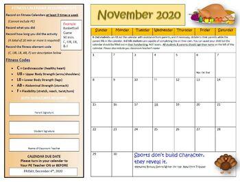 November Fitness Calendar 2016