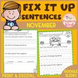November Fix it Up Sentences | Print & Digital | Google Slides