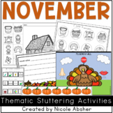 November Fluency Activities for Speech Therapy
