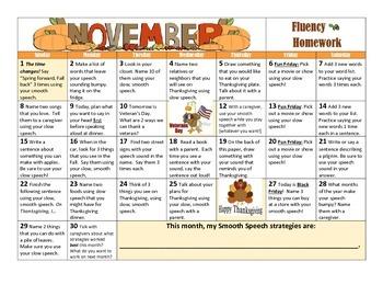 November Fluency Calendar (PLUS Strategies for Stuttering!)