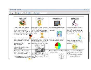 November Fourth Grade Homework Calendar Publisher Version