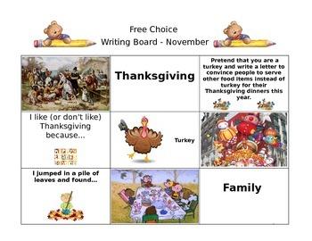 November Free Choice Writing Board