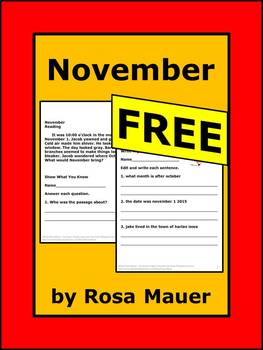 November Free Literacy Reading and Writing Activity