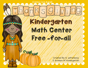 November Math Center Adding to 5 Freebie