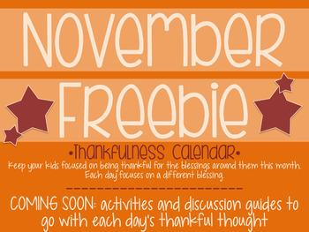 November Freebie: Thankfulness Calendar