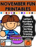 November Fun Printables. Thanksgiving and Fall Theme
