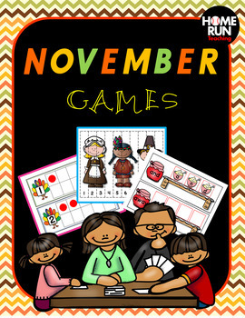 November Games, literacy and math centers, Thanksgiving, sight words