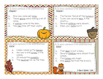 November Grammar Task Cards