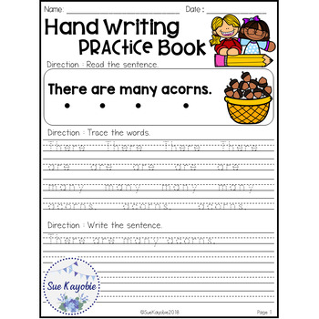 November Hand Writing Practice Book Freebies