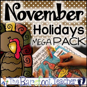 November Holidays MEGA Pack: Thanksgiving Activities & Veterans Day & More!