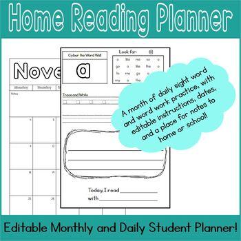 November Home Reading Planner, September - June