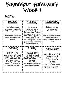 November Homework