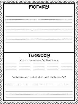 November Homework: A Month of Homework for Kindergarten