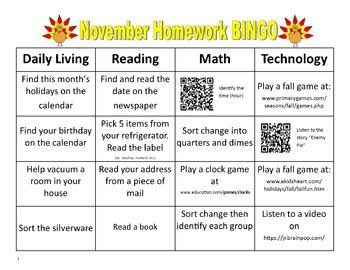 November Homework BINGO with QR Codes