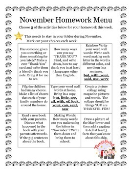 November Homework Menu