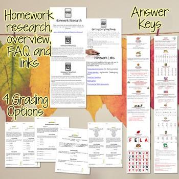 Third Grade Homework November {30+ NO PREP Printables & Editable Homework Menu}