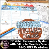 Third Grade Homework November {35+ NO PREP Printables & Editable Homework Menu}