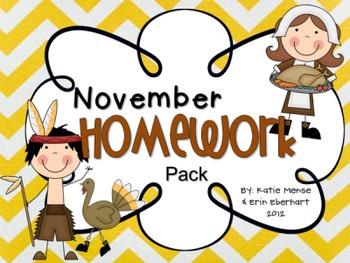 November Homework Pack for Kindergarten