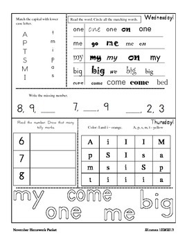 November Homework Packet for Kindergarten/First Grade
